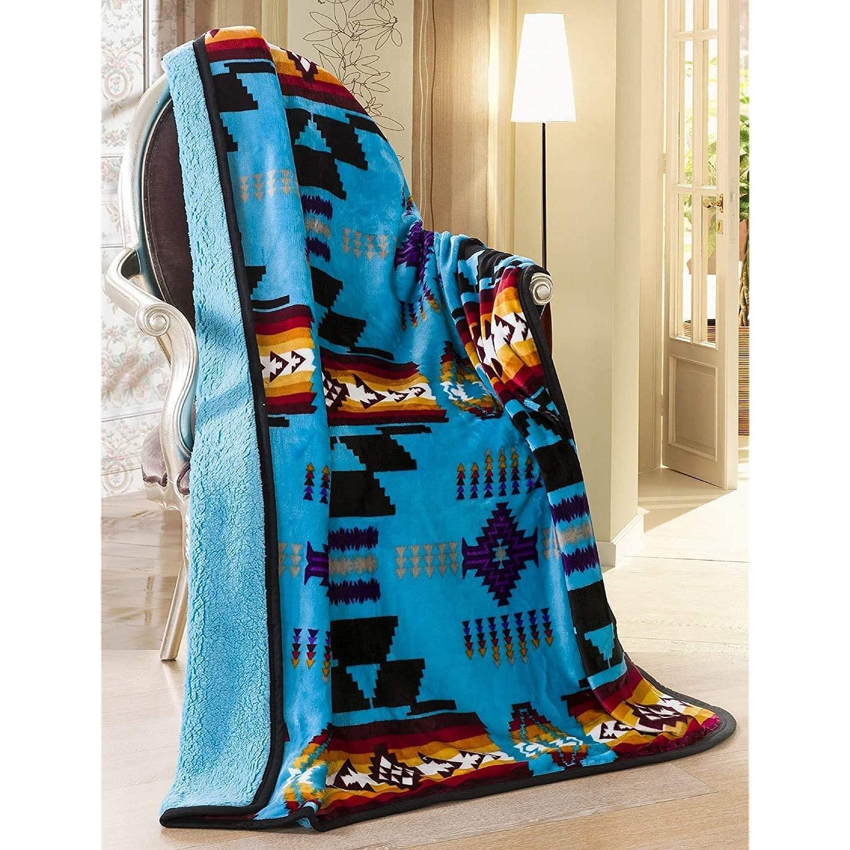 Southwest Aztec Turquoise Sherpa Borrego Fleece Throw Blanket
